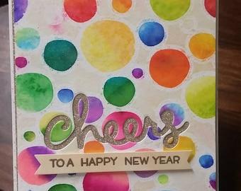 Cheers to happy new year, handmade card