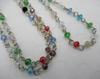 Silver Beaded Chain - Bead Chain Necklace - 4mm Multicolor Beads - 18 inches with Lobster Clasp - Rosary Chain - Qty 1 *NEW ITEM*