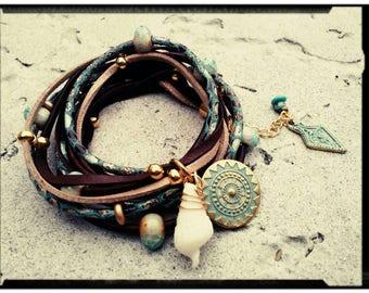 Gyp•Sea Wrap Bracelet - Bohemian Bracelet - Shell Charm//Ceramic Beads//Chocolate Leather//Teal  Leather//Gold & Turquoise- Multi Layer Wrap