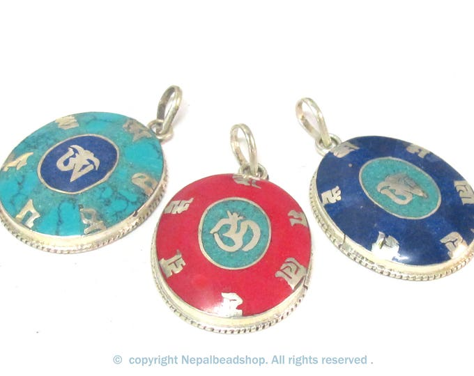 Special Sale -  3 Pendants - Tibetan om mantra prayer pendant with turquoise coral lapis inlays - PM165B