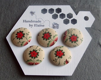 Fabric Covered Buttons - 5 x 22mm Buttons, Handmade Button, Cream Linen Red Green Floral Leaf Traditional Heritage Old World Buttons, 2561