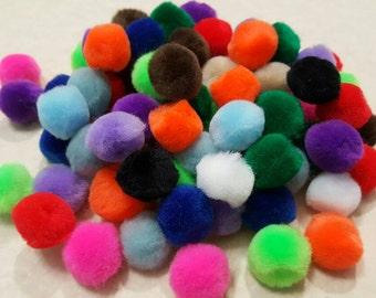 """Pompoms/Pom Poms-Destash-1/2-3/4"""" Mixed Colors - Chenille Pompoms - 90 pieces - Loose Pompoms"""