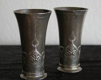 Set of Art Nouveau Jugendstil Pair Pewter Vases J.R.J.L. Reinemann Lichtinger 331A