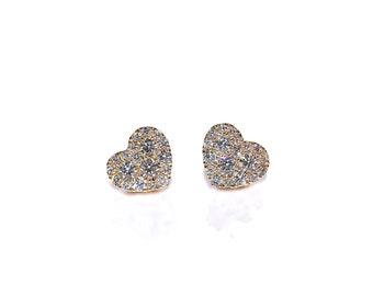 18k Cluster Diamond Heart Earrings/Studs