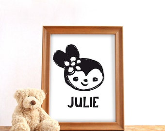 Printable custom name poster, digital download, Baby girl name print, Cute bunny, Nursery print, Baby birthday gift, Personalized gift girl