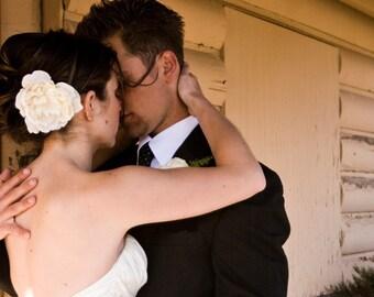 Grace Champagne Ivory Peony Hair Flower, Fascinator, Large, Clip, Wedding, Bridal Headpiece, Elegant, Simple, Pearls