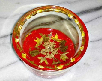 Red Lucite Bowl with Embedded Flowers & Leaves / MCM Lucite Trinket Dish / 1960s Lucite Occasional Dish with Pressed Leaves