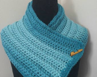 Teal ombre cowl, beautiful ombre cowl, cowl, ready to ship, warm cowl, cowl scarf