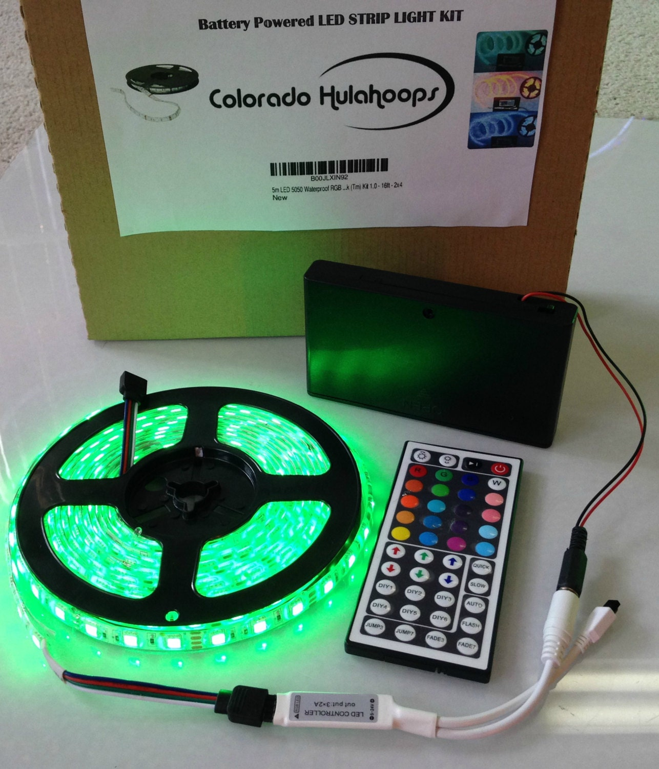 Battery powered 5050 rgb led strip light kit 44 key remote zoom mozeypictures Image collections