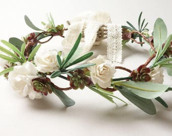 Succulent Flower Crown, Spring Wedding, White Flower Crown, Natural Wedding, Simple Bridal Crown, Greenery Head Wreath, Floral Headdress