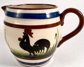 "Vintage Collectible Longpark Torquay Rooster ""Pip Squeak"" Ceramic Pottery Milk Pitcher Made in England"