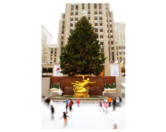Rockefeller Center Christmas Tree, New York City, Color Photograph, Ice Skating Rink, Winter, Green, Tan, Snow, NYC Art Print