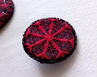 Aegishjalmur hand embroidered brooch