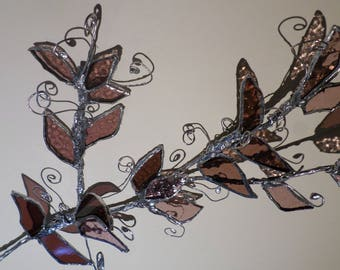Stained glass  hanging decoration, dark rose pink ,gift idea