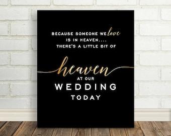 In Loving Memory Sign, Printable Wedding Sign, In Heaven Wedding Sign, Wedding Memorial Sign, DIGITAL Memorial Sign Black