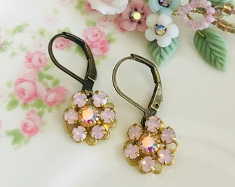 dainty dangle earrings with rosewater opals and AB Swarovski crystals antique brass lever backs  #1067-16