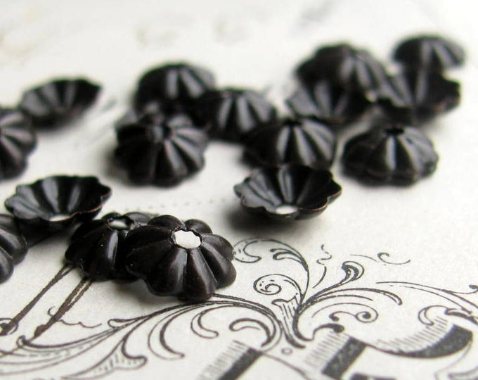 5mm bead cap - antiqued black brass bead caps (30) mini, small, tiny dark aged patina, made in the USA, lead nickel free, brass daisy