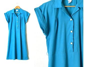 80s Blue Shirt Dress   Short Sleeve Shirt Waist Dress   Cotton A Line Dress Aqua Blue Tea Dress 80s Midi Dress Casual Day Dress With Pockets