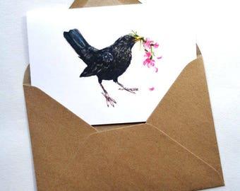 Blackbird Greetings Card, Mothers Day,  Blackbird Print, Blackbird Designs, Birthday Card, Mothers Day Cards