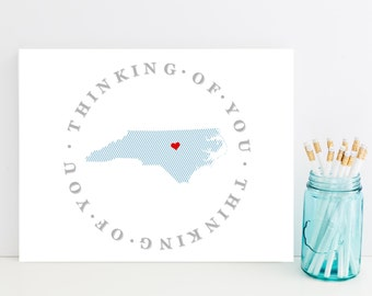 North Carolina Stationery - State Stationary, Stationery - Thinking of You Card - UNC Gift