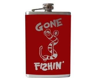 Gone Fishin FLASK- alcohol, liquor, booze, wedding, bridal party, hip pocket- Personalized Custom - YOU pick COLOR