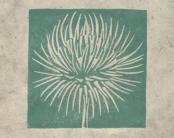 Thistle seed head mini linocut print