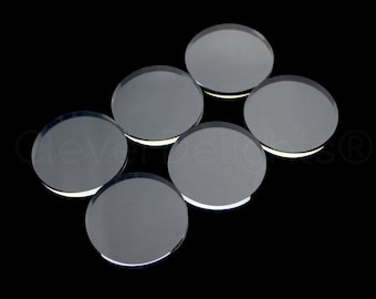 """20 Pack - 40mm Round Glass Tiles - Flat on Both Sides - 1 9/16"""" Clear Tiles - 1 9/16 Inch - 40 mm Diameter Tiles - 4mm Thick"""