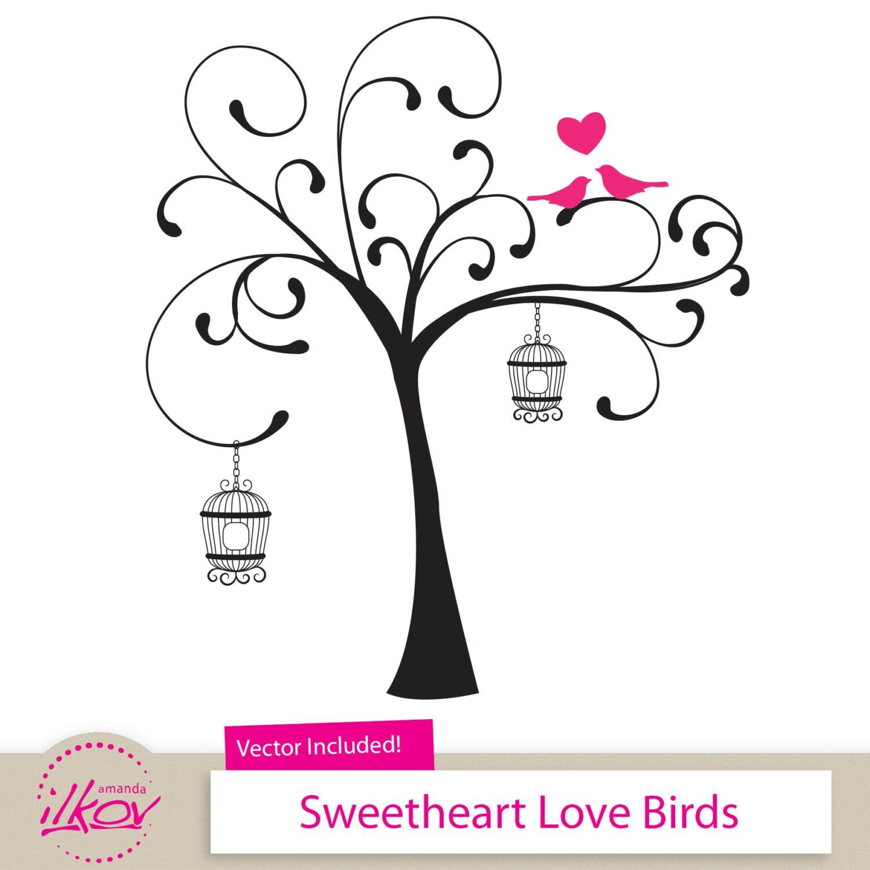 Love Birds Clipart for Wedding Invitations Wall Art Digital