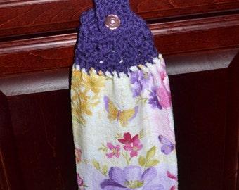 hanging towel, crochet top kitchen towel,  stocking stuffer, finger tip towel, crochet top towel, hanging kitchen towel, purple towel
