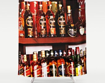 Brown Shower Curtain, Booze Bath Curtain, Brown Bathroom Decor, Urban Photography, Pub Decor, Alcohol Gifts, Man Cave Decor, Manly Gift