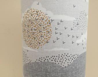 Lamp birds sunset - tablelamp, handmade fabric cylinder design, includes electrics, ideal gift, bird wildlife lover