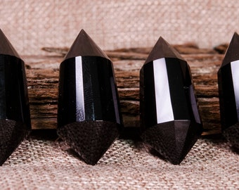 AAAAA 24 Sided Double Terminated Black Obsidian Quartz Crystal Towers,Black Obsidian Crystal Stone Points,Vogel Points,Wand Healing,Wicca