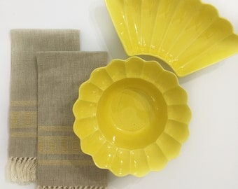 Vintage Linen and Yellow Embroidered Tea Towels