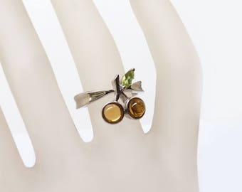 Citrine ring with Peridot as a Cherry Ring!