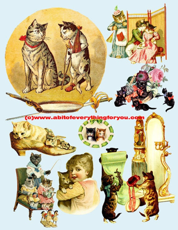vintage cat kittens art clipart digital download die cuts craft cut outs sheet graphics images animal pet printables