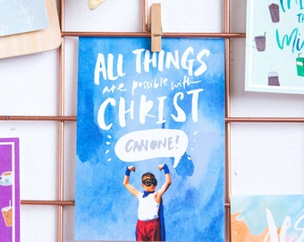 All Things are Possible with Christ! Can One! / Postcard