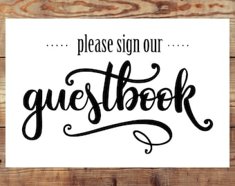 INSTANT DOWNLOAD Printable Wedding Guestbook Sign Digital File. Both 5x7 AND 4x6 included!