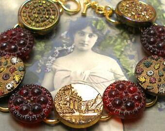 "Victorian Archeology BUTTON. Ancient Ruins on gold bracelet. Present, gift. 7.5"" button jewellery bracelet."