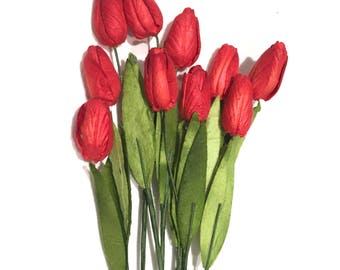Deep Red Mulberry Paper Tulips Tul007