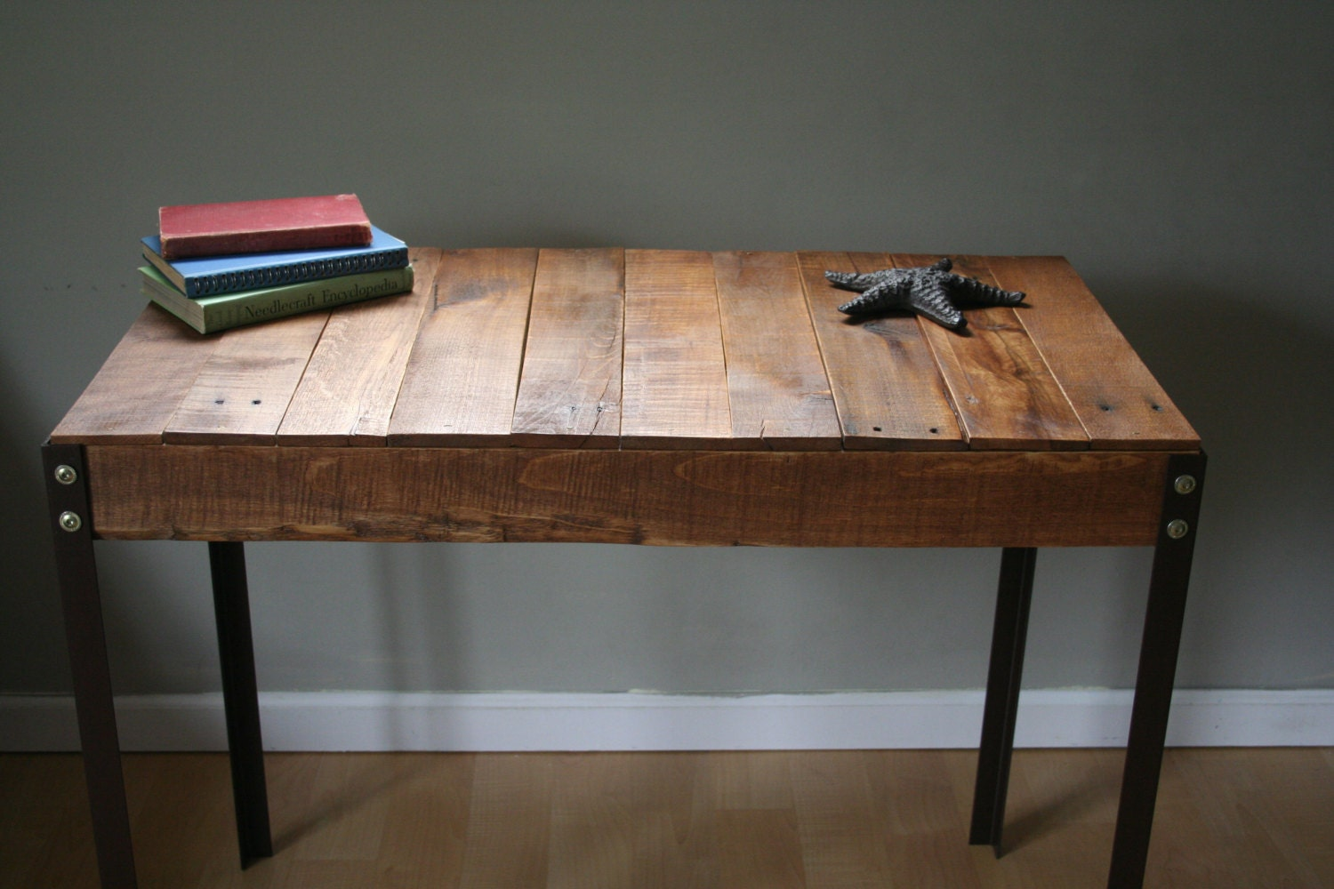 Rustic reclaimed wood desk table with industrial iron legs zoom watchthetrailerfo