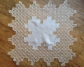 19th Century Silk and Lace Handkerchief, Handmade Antique Lace Hankie, Cream Silk Lace,Victorian handkerchief