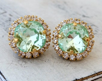 Mint earrings,mint crystal studs,Mint green earrings,Swarovski earrings,mint bridal earrings,mint bridesmaid earrings,mint wedding jewelry