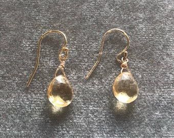 Faceted teardrop golden quartz earrings