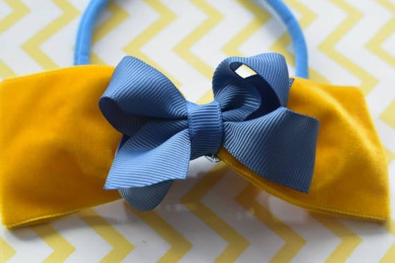 Fall mustard yellow and blue - Baby / Toddler / Girls / Kids Elastic Hairclip / Hair Barrette / Hairband / Headband / holiday gift