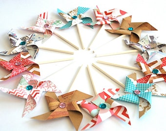 Everyday Eclectic Pinwheels - Cupcake Toppers/Party Picks