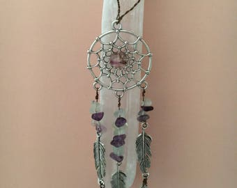 5in. Selenite Wand with Fluorite and Wire Wrapped Dreamcatcher