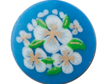 Vintage Blue with White Flowers Cabochons Japan 13mm cab380A