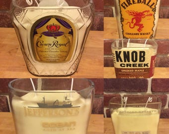Candles! Handmade Soy Wax Natural Scents Upcycled Whiskey Bottle Candles! Best Smelling Gift for him or her, Hand Crafted