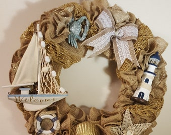 Summer Wreath, Nautical Wreath, Lighthouse Wreath, Beach Wreath For Front Door