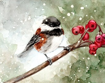 Winter Chickadee in the Snow - watercolor painting archival print - 5x7